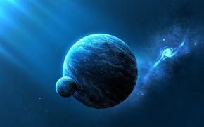 Picture space, nebula, planet, satellite