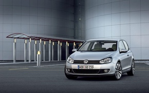Wallpaper machine, cars, silver, volkswagen golf