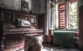 Picture music, room, window, piano
