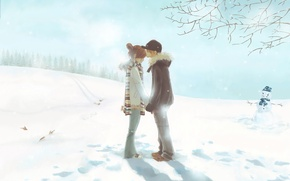 Wallpaper winter, tenderness, first kiss, two