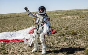 Picture landing, flight, red bull, athlete, red bull stratos, space, Felix Baumgartner