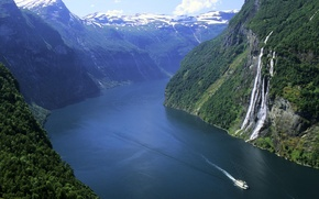 Picture forest, snow, mountains, waterfall, Norway, boat, the fjord