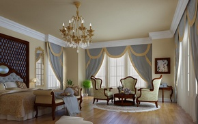 Picture design, style, room, furniture, Windows, bed, interior, mirror, chairs, bedroom