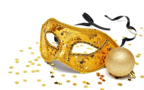 Picture new year, ball, mask, stars, gold