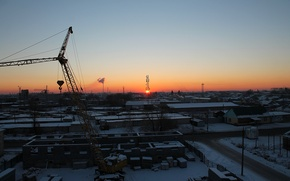 Picture sunset, crane, industrial zone
