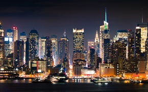 Wallpaper night, the city, New York, new york, Manhattan
