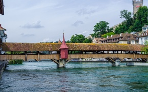 Picture bridge, river, Switzerland, gallery, Lucerne, turret