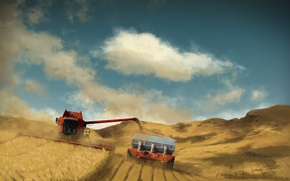 Wallpaper harvest, field, harvester