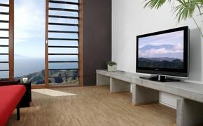 Picture design, style, room, interior, TV, apartment, cinema, home, sofa. window