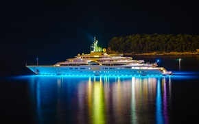 Picture night, lights, island, yacht, Eclipse, yacht, trees., mega, luxury