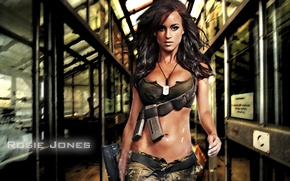 Picture chest, girl, face, sexy, background, the inscription, model, hair, tummy, sexy, beauty, waist, Rosie Jones, …
