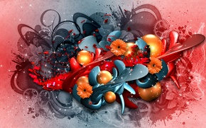 Picture flowers, abstraction, collage, graphics, render, hq Wallpapers