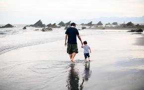 Picture sea, beach, walk, men