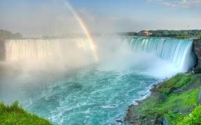 Picture waterfall, rainbow, haze, noise