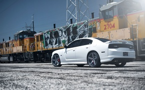 Picture white, yellow, graffiti, train, white, rear view, dodge, charger, srt8, SRT, train, the charger, power …