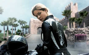 Wallpaper Rebecca Ferguson, poster, palm trees, bike, Moto, background, helmet, Mission: Impossible - Rogue Nation, castle, ...
