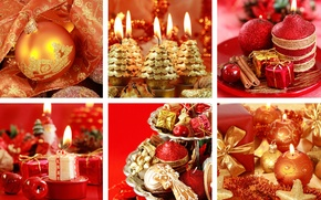 Picture decoration, red, holiday, collage, new year, candles, gold plated, Wallpaper from lolita777