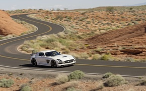 Picture Mercedes-Benz, Road, White, Desert, Machine, AMG, SLS, Sports car, In motion