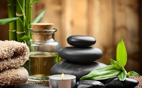 Picture stones, Spa, stones, bamboo, candles, spa, zen
