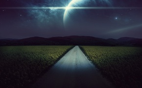 Picture road, field, stars, night, rendering, planet