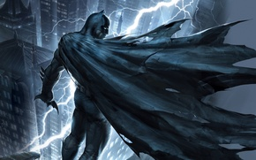 Picture roof, night, the city, lightning, mask, art, costume, Batman, The Dark Knight Returns