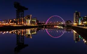 Picture lights, reflection, river, building, the evening, Scotland, backlight, UK, Scotland, University, Great Britain, Glasgow, Glasgow
