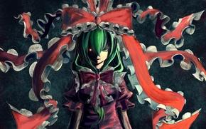 Picture girl, face, eyes, art, bow, touhou, kagiyama hina, burning, marubororaito