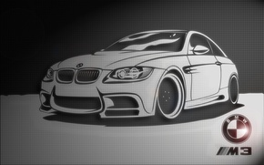 Picture black and white, texture, BMW, Car