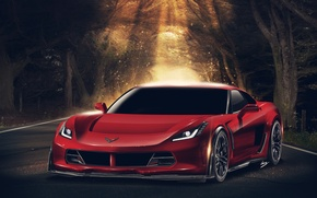 Picture Corvette, Chevrolet, red, front