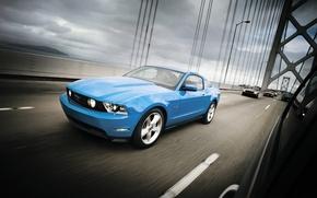 Wallpaper bridge, muscle car, mustang, Ford