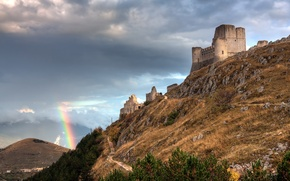 Picture Italy, Rainbow, The ruins, Fortress, Abruzzo Italy, Rainbow And The Castle