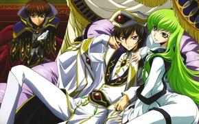 Picture mantle, green hair, the throne, code geass, c.c., lelouch lamperouge, suzaku kururugi, Lord, by takahiro …