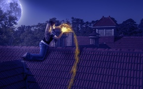 Picture girl, light, night