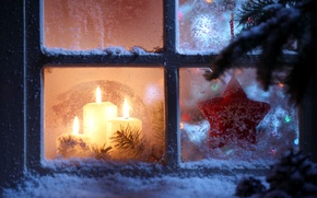 Picture stars, snow, snowflakes, Windows, new year, candles, window, star, new year, snow, window, Merry Christmas, …