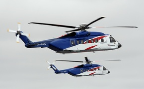 Wallpaper helicopter, twin-engine, transport, Sikorsky S-92, four