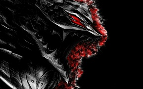 Picture armor, mouth, black background, Berserk