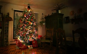 Picture room, tree, new year, gifts