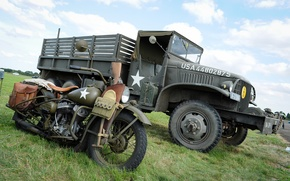 """Picture war, motorcycle, military, Harley-Davidson, military equipment, world, Second, times, WLA, """"Jimmy"""", truck, GMC CCKW"""