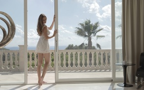 Picture girl, dress, window, shore, penthose