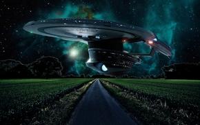 Picture road, field, space, stars, night, fiction, aliens, spaceship, aliens, starry sky, star trek, cornfield, Star …