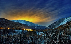 Picture winter, forest, snow, landscape, night, Canada, glow