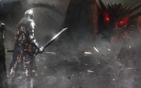 Wallpaper dragon, sword, warrior, art, lizard, armor, Dark Soul 2