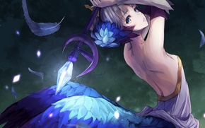 Picture girl, magic, anime, feathers, art, staff, odin sphere, konkito, gwendolyn