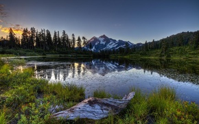 Picture forest, mountains, nature, lake, dawn