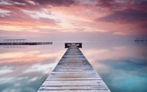 Picture sea, beach, the sky, water, clouds, sunset, orange, bridge, surface, reflection, pink, the evening, calm, ...