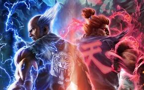 Wallpaper Tekken 7: Fated Retribution, Heihachi, flame, lightning, Namco Bandai, kimono, tiger, back, Akuma, fighters