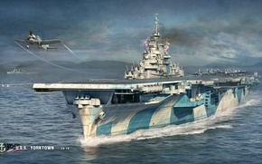Wallpaper U. S. S., CV-10, Yorktown, ships, the rise, aircraft, deck, sea, the carrier, World Of ...