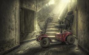 Picture background, ladder, stroller