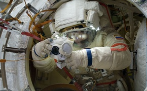 Picture Space, ISS, the spacewalk, Russian cosmonaut