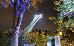 Picture night, lights, Canada, Montreal, Olympic stadium